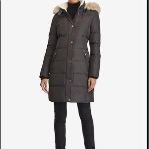 Lauren Ralph Lauren Down Quilted Jacket Faux Fur